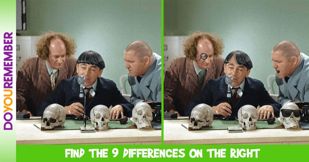 Find All the 9 Differences in this Three Stooges Picture!