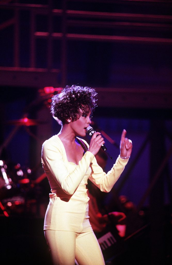 Singer Whitney Houston performs during an HBO-televised concert honoring the service men and women who took part in Operation Desert Storm.