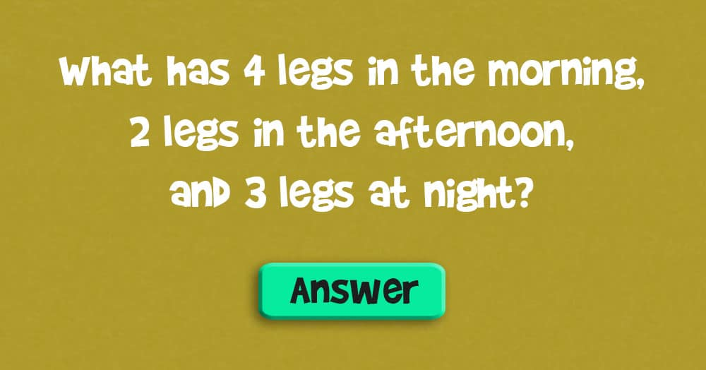 What has 4 Legs in the Morning, 2 Legs in the Afternoon, & 3 Legs at Night?