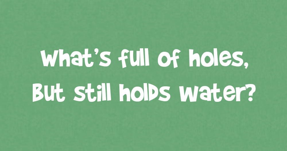 What's Full of Holes but Still Holds Water?