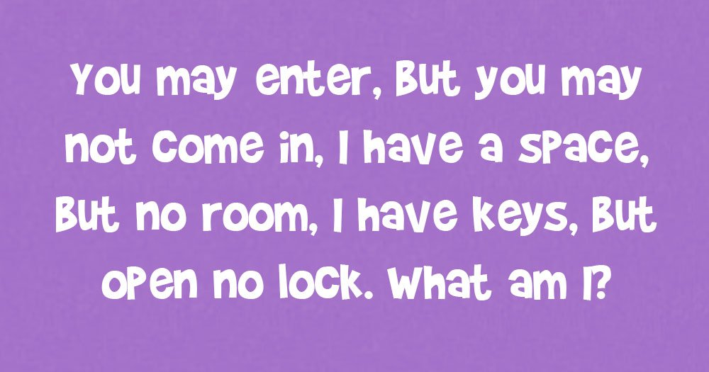 You May Enter, But You May Not Come In. I Have A Space, But No Room. I Have Keys, But Open No Lock. What Am I?