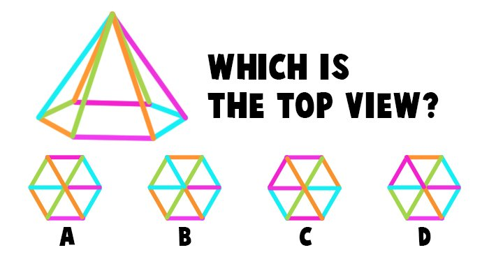 Which is the Correct Top View of this Hexagon Pyramid?