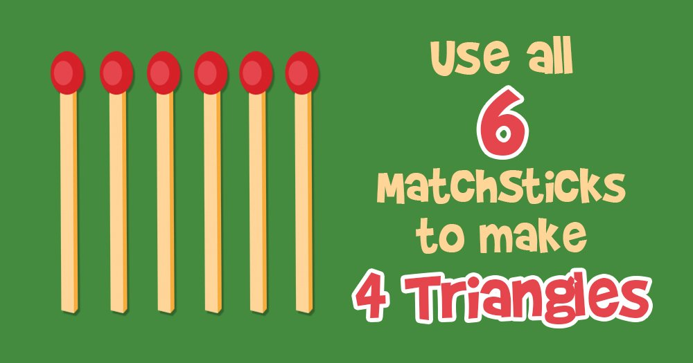 Move All 6 Matchsticks to Create 4 Equilateral Triangles