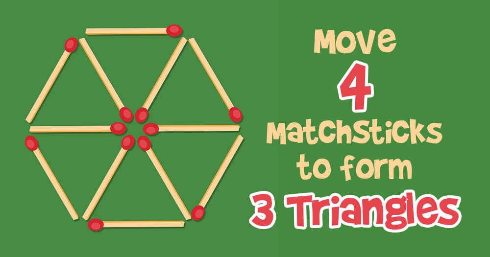 Move 4 Matchsticks to Turn this Wheel into 3 Triangles