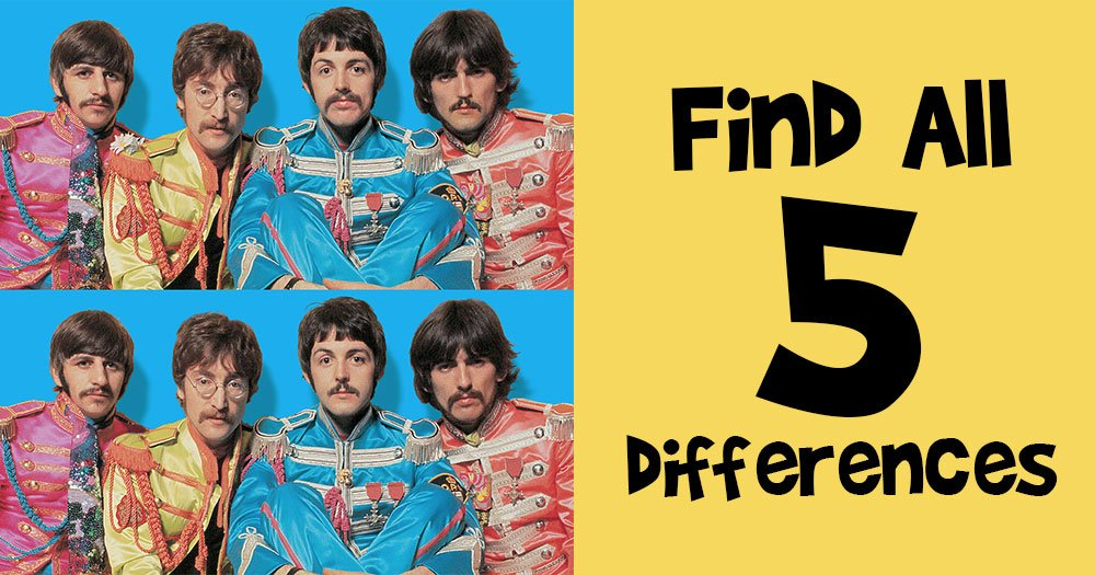 Find the 5 Differences Between these Beatles Sgt. Pepper Pictures