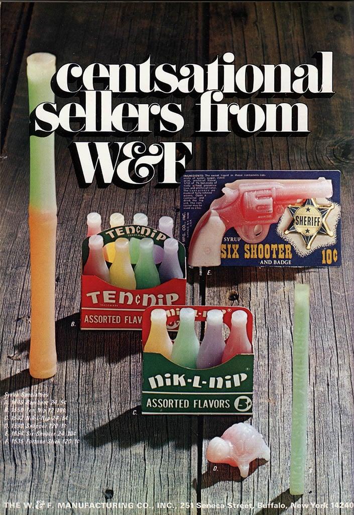 W and F Manufacturing nik l nip wax candy