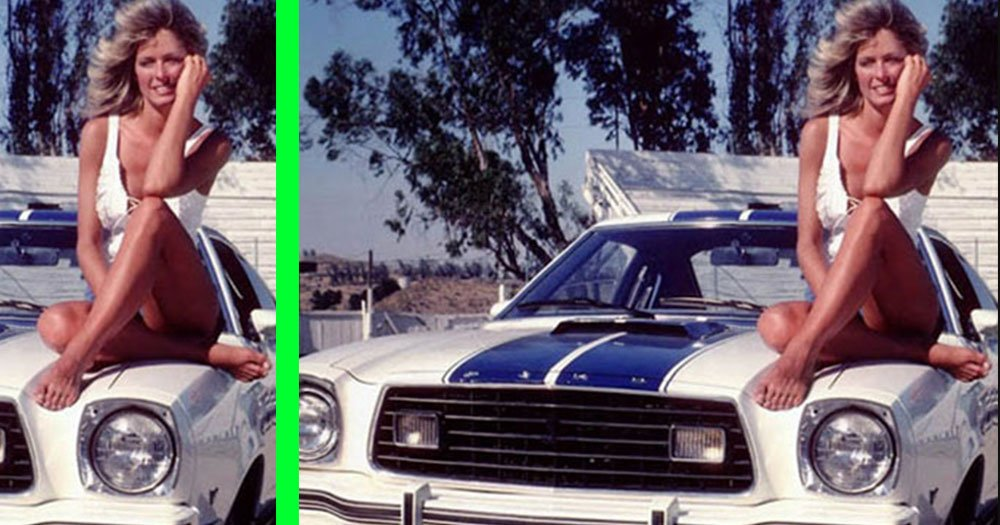 Spot All 5 Differences in this Classic Farrah Fawcett White Mustang Cobra Picture