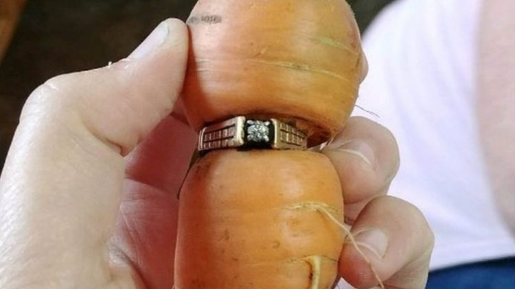 the engagement ring found after 13 years on a carrot