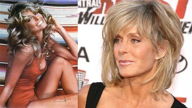 Charles Angel cast member Farrah Fawcett side by side, then and now