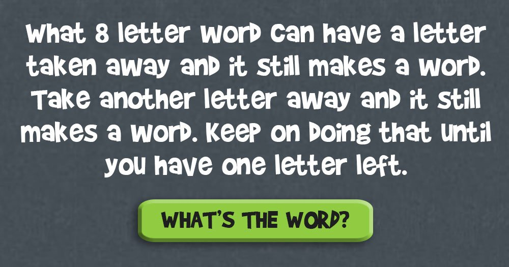Name the 8 Letter Word. It's Not as Easy as You Might Think!