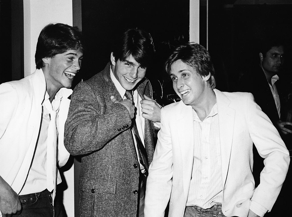 American actors Rob Lowe, Tom Cruise, and Emilio Estevez at the premiere screening of the TV movie, 'In The Custody of Strangers,' directed by Robert Greenwald, Beverly Hills, California, April 22, 1982.