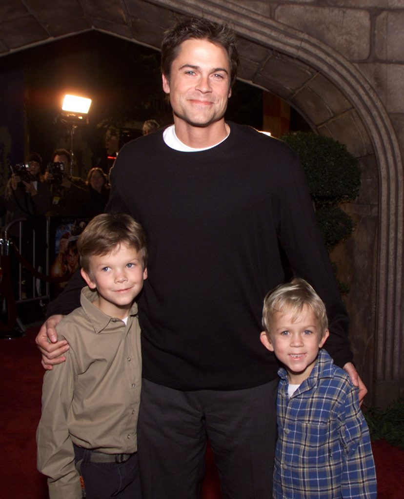 "Rob Lowe and his sons Matthew and John Owen at the premiere of ""Harry Potter and the Sorcerer's Stone"" in Los Angeles, Ca. Wednesday, November 14, 2001. Photo by Kevin Winter/Getty Images."