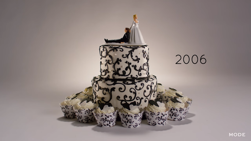 2006 wedding cake with cupcakes