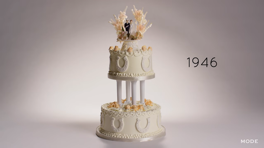 1946 wedding cake with bride and groom toppers