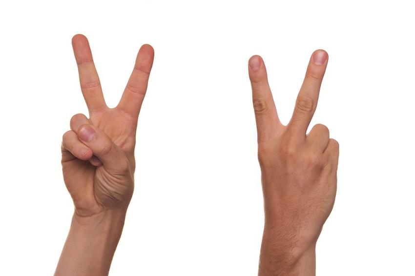v sign hand gesture