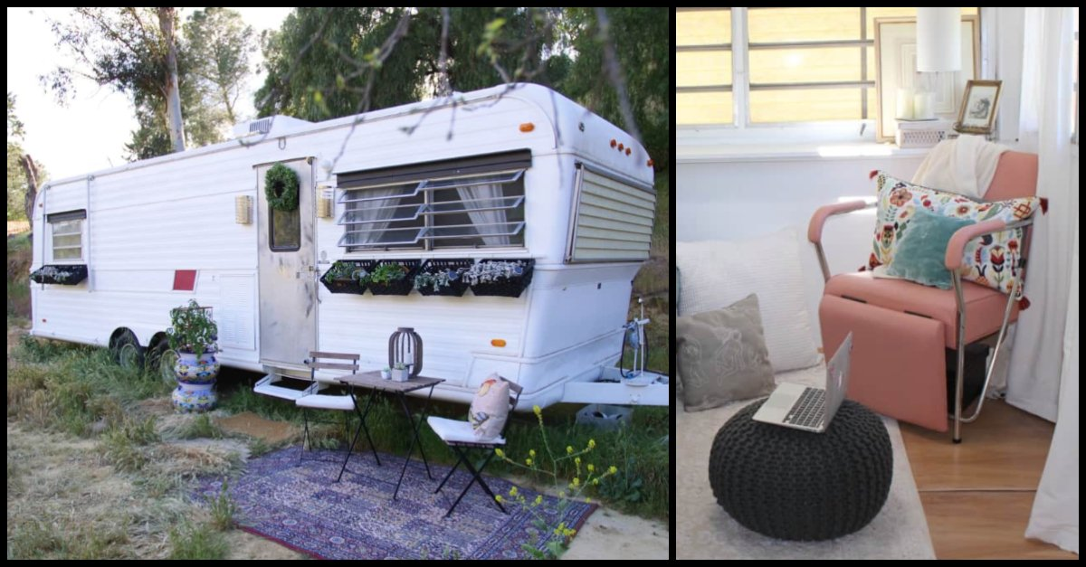 Old Trailer Looks Boring From The Outside, But Inside It's A Stunning Vintage Tiny House