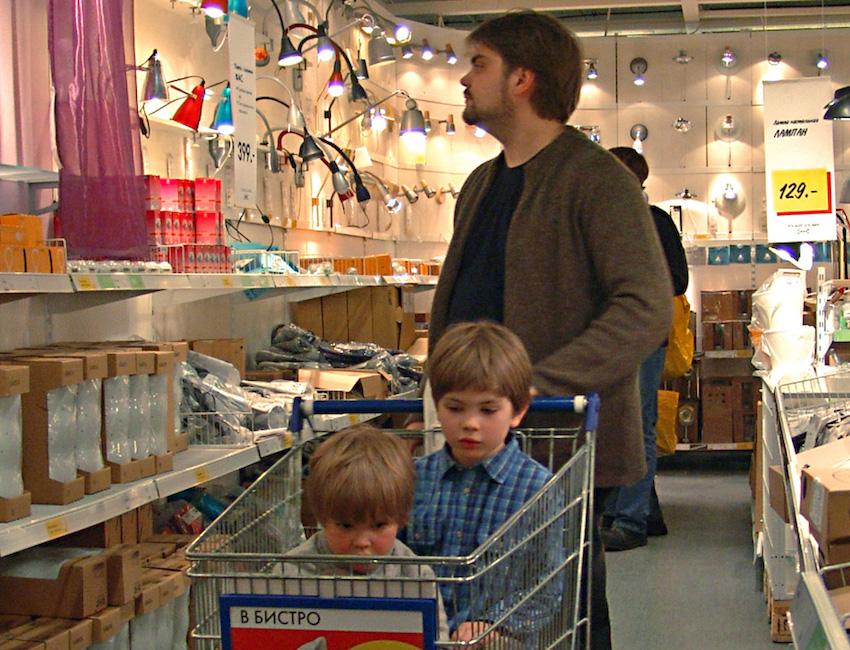 family shopping at ikea