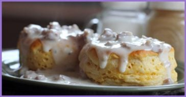 Biscuits topped with gravy.