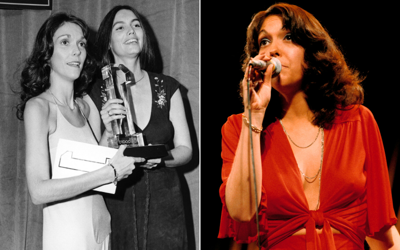 Singer, Karen Carpenter's change in physical appearance shown side by side with photo from 1970 and 1974. Carpenter appears very thin in both photos.