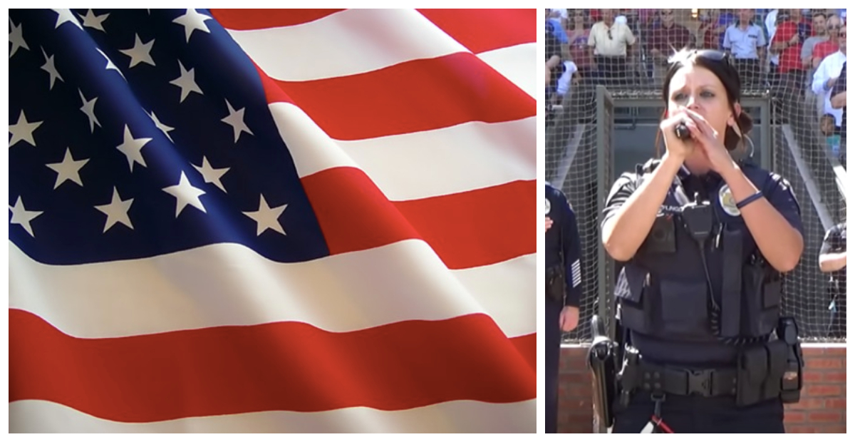 Police Officer Surprises Audience By Belting Out The National Anthem And Everyone Is Entranced