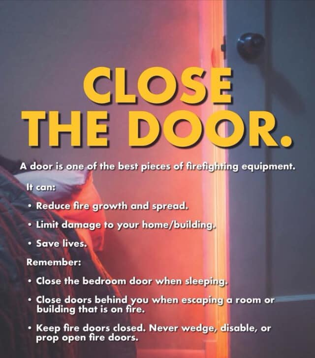 a list of reasons it is safer to keep your bedroom door closed before going to sleep