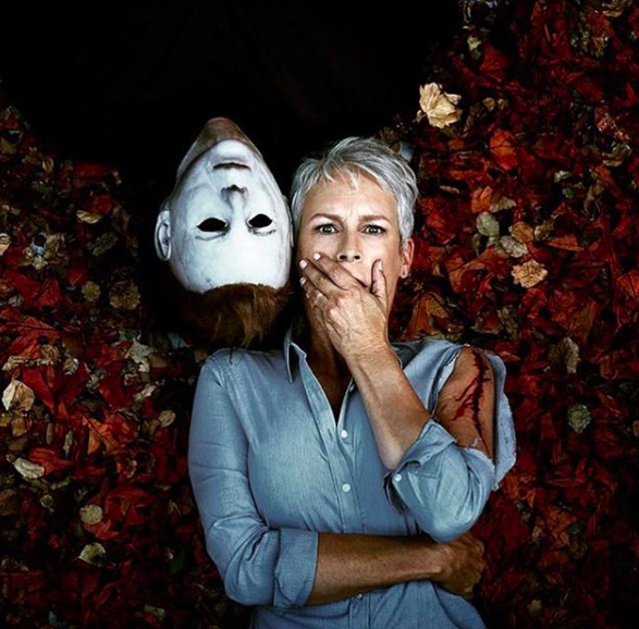 Actress Jamie Lee Curtis Posting With Halloween Co-Star