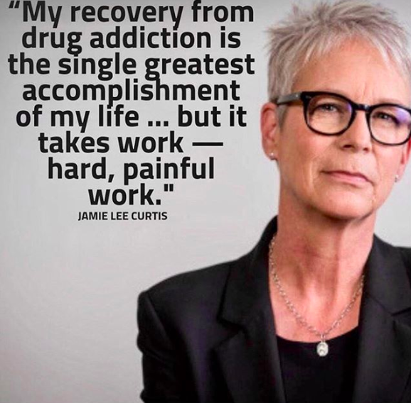 Jamie Lee Curtis Appearing Next To Her Quote About Drug Addiction And Recovery