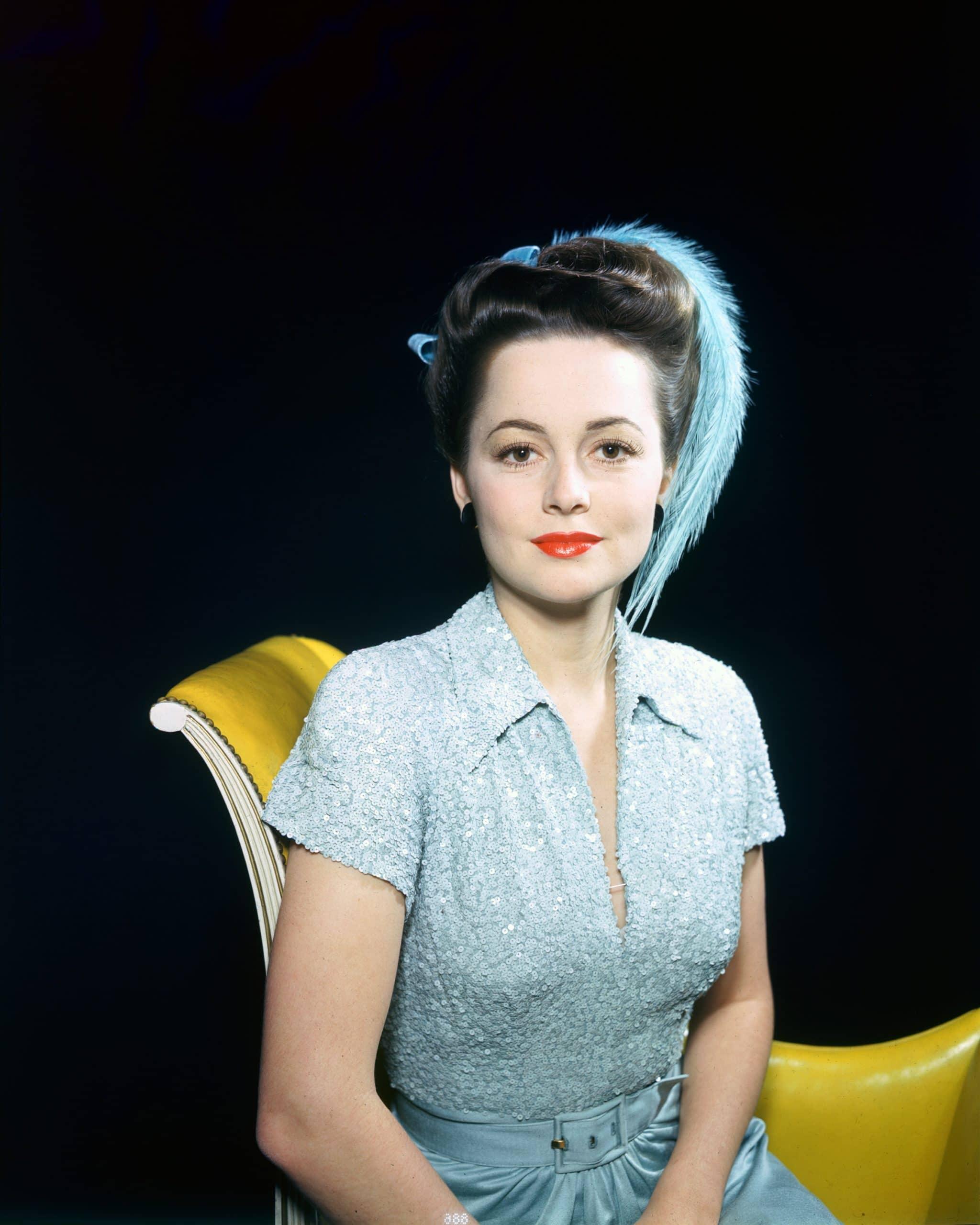 Olivia de Havilland young blue dress
