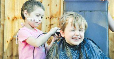 little boy lets best friend shave head