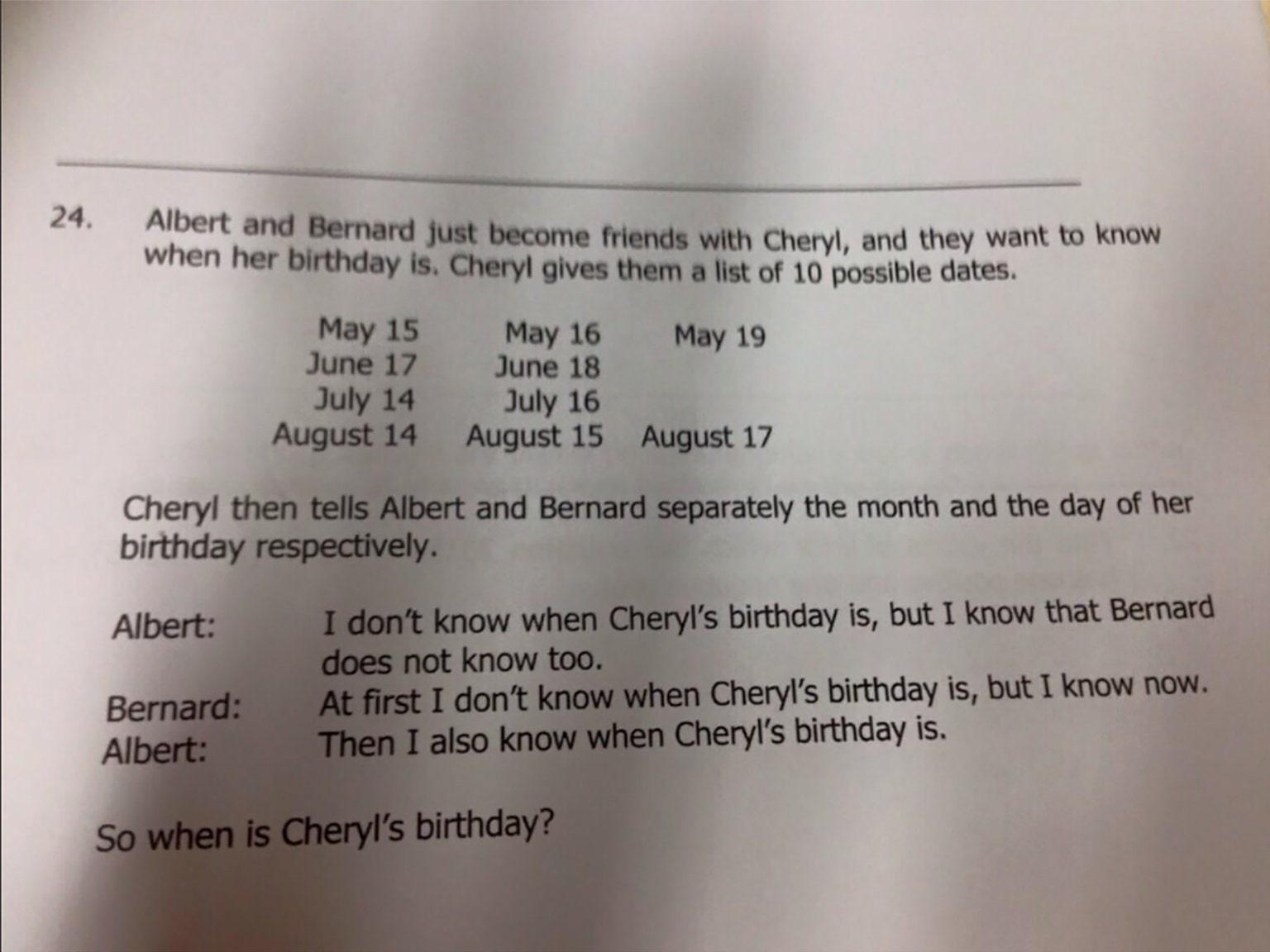 cheryls birthday