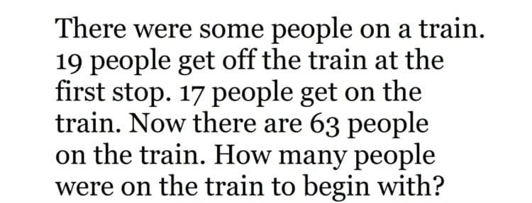 train math problem