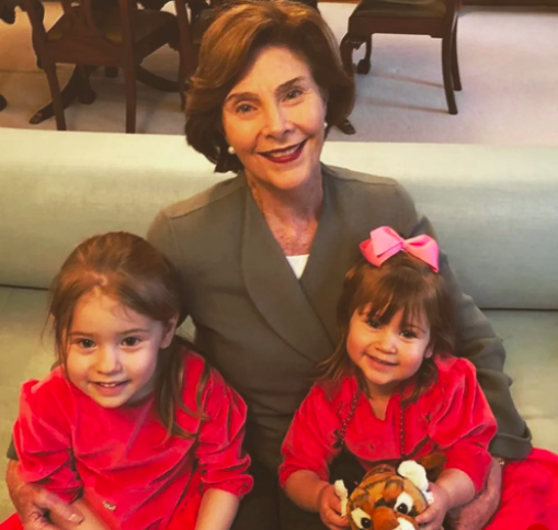 Laura Bush with granddaughters