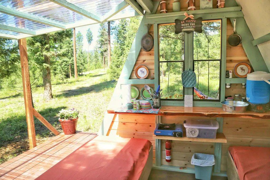 inside of tiny cabin