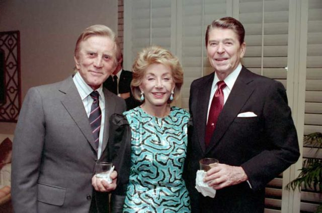 Kirk Douglas and Anne Buydens with Ronald Reagan