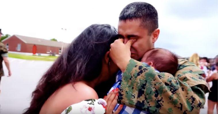 marine meets newborn son