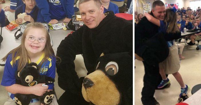 military dad surprises daughter as school mascot