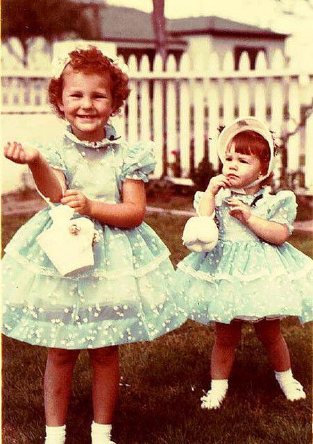 sisters in easter dresses
