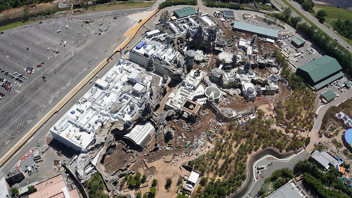aerial view of star wars land