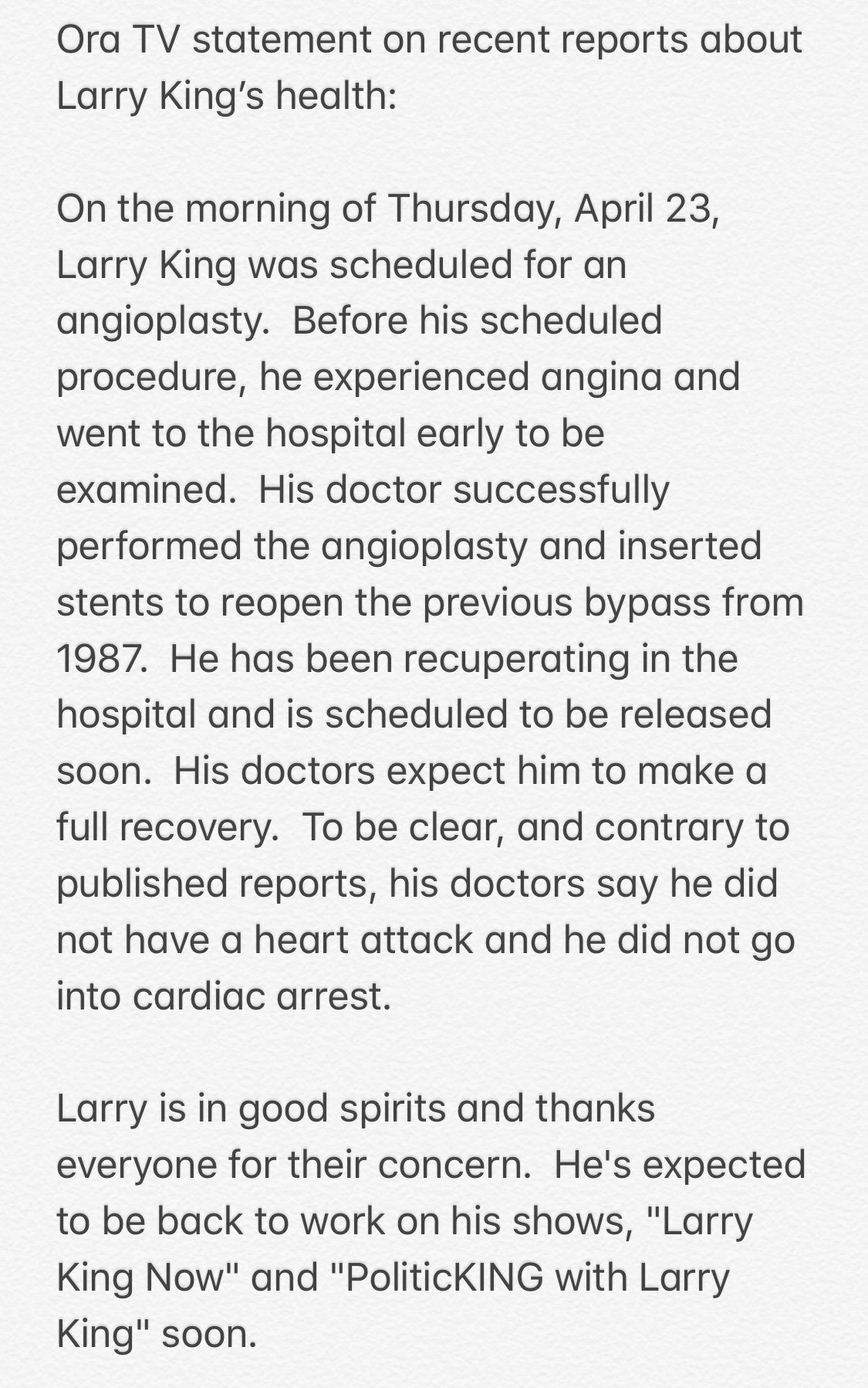 larry king health statement