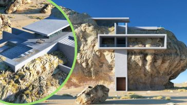 Architect creates design for a house inside a rock