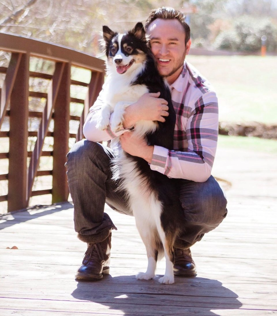 Eric, the founder of K9 Cinemas, and his dog Bear