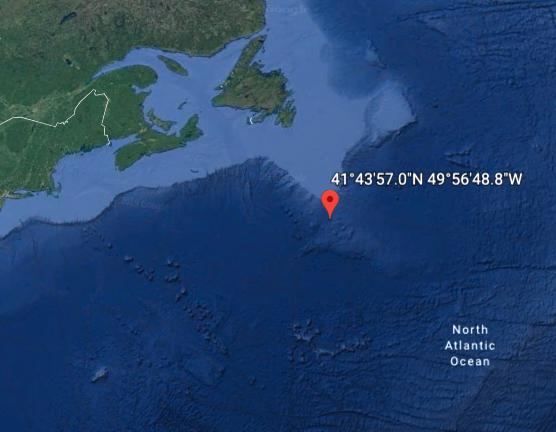 coordinates of titanic sinking