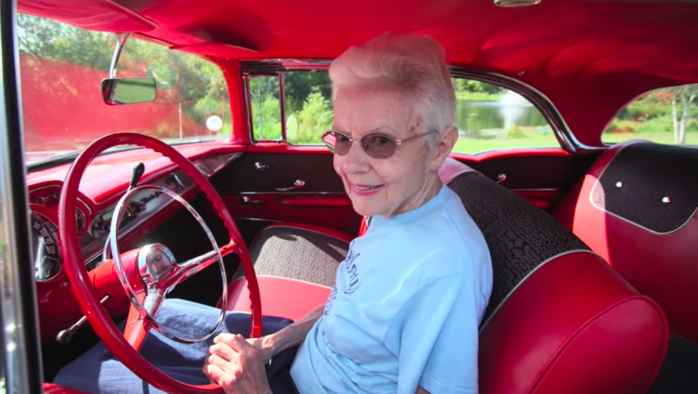 Grace Braeger with 1957 Chevy