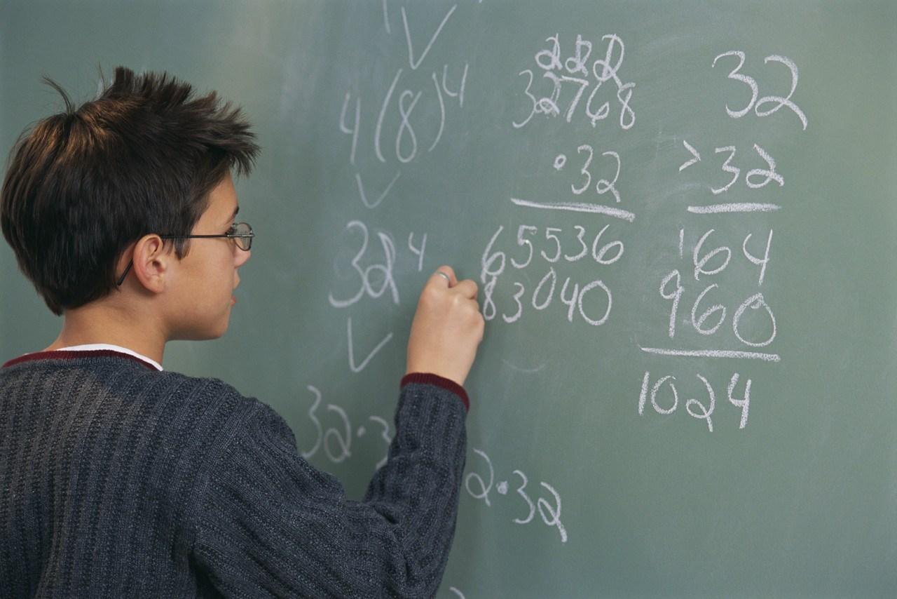 Kids doing math problems