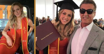 sylvester stallone's daughter graduates college
