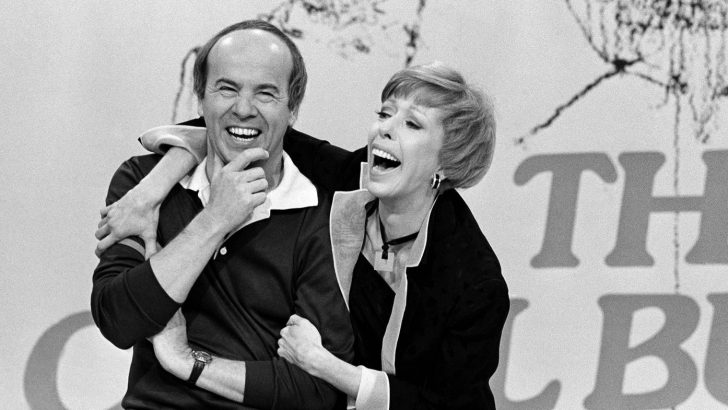 Tim Conway and Carol Burnett laughing together