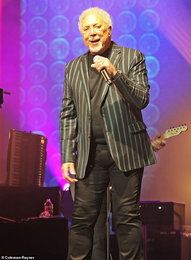 Tom Jones on stage at his show
