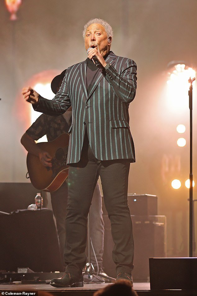 Tom Jones performing on the kick-off night of his tour