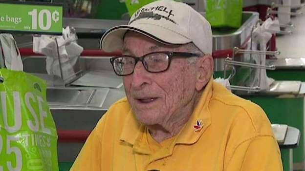 World War II veteran working at Stop & Shop