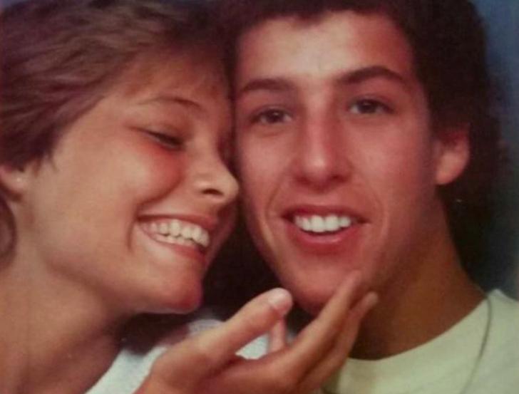 Adam Sandler with his girlfriend in high school